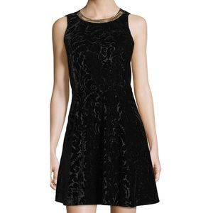 Michael Kors Black Velvet Chain Neck Dress